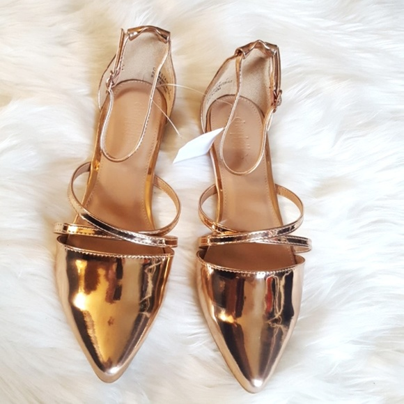 97a1e339c774 Rose Gold Caged Pointy Flats size 7 BNWT